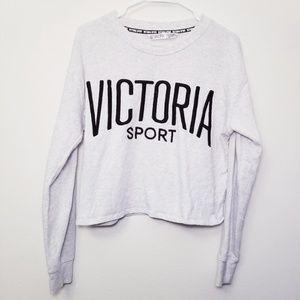 Victoria Secret Medium Light Gray Crop Sweatshirt